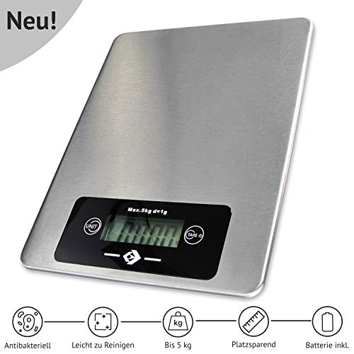 ANGEBOT Volantis ® Küchenwaage - Zuverlässige Digitalwaage mit gut lesbarem Display - Haushaltswaage mit antibakterieller Edelstahlfläche - Exzellent für's Backen und Kochen