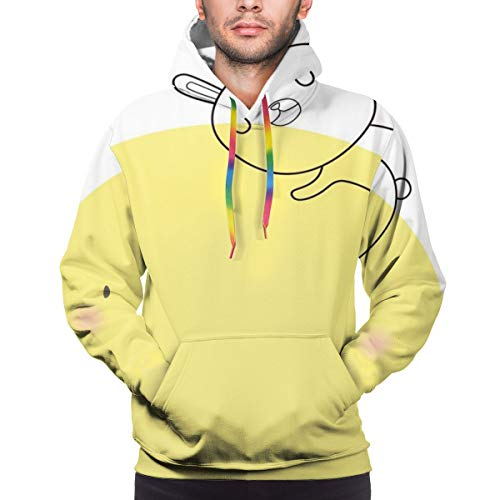 Preisvergleich Produktbild Men's Hoodies Sweatershirt, Doodle Style Cartoon Bunny Sleeping On Moon with Stars and Cloud Colorful Image, 3D Printing Long Sleeve Casual Sweatershirt Tops, Size Large