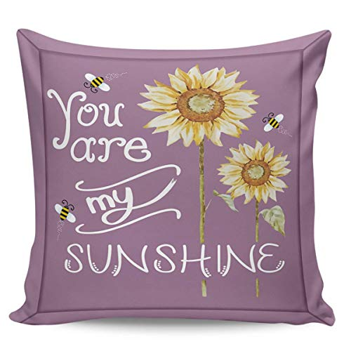 W-wishes Throw Pillow Covers Cases,You are My Sunshine Sunflower Bees Purple Cushion For Home Decoration, 18 x 18 Inch