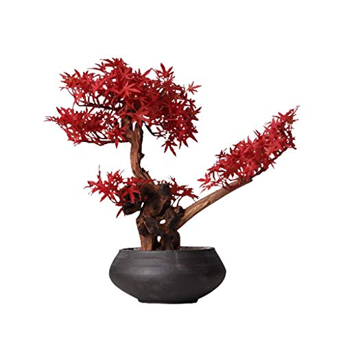 Bonsai arbol natural interior Simulación de arce chino rojo de la hoja de arce falso Bonsai artificial verde Planta de escritorio de pantalla, Hotel Villa Inicio artificiales árbol artificial en macet