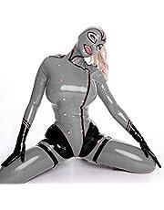 100% látex Catsuit – Mono para mujer con botones y cremallera (XXS (B80 x 64 x 82 cm), color gris