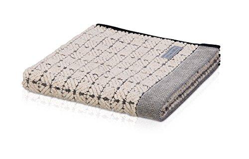 möve Eden Handtuch Quadratstruktur mit Schlauchsaum 50 x 100 cm aus 80 % Baumwolle / 20 % Leinen, nature / black