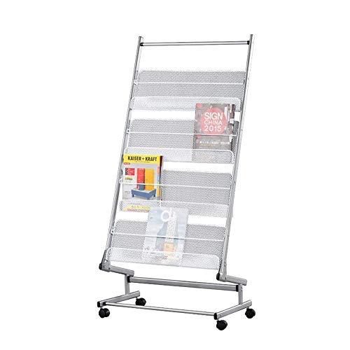 Estantes prácticos Estante para Libros Estante para revistas Soporte en Forma de L Soporte para periódicos de Metal Estante Ajustable Base Irregular con polea para Movimiento