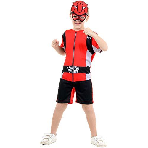 Fantasia Power Rangers Infantil Vermelho Beast Morphers PMG (G 9-12)