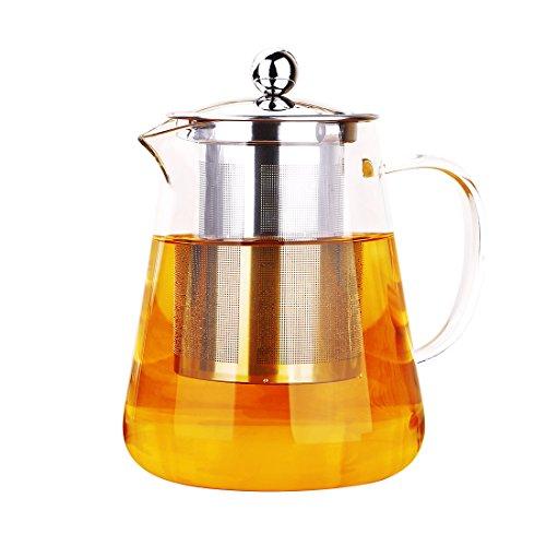 Oneisall Glas-Teekanne, hitzebeständig, Borosilikatglas, transparent, mit Edelstahl-Teeei, geeignet für Induktionskochfeld und Herdplatte, glas Borosilikatglas edelstahl, 1.2L