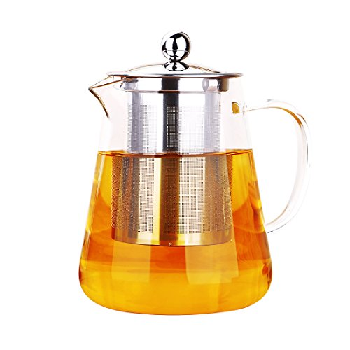 ONEISALL Heat Resistant Borosilicate Clear Glass Teapot wih Stainless Steel Infuser, Flower Tea Coffee Pot, Induction hob and Stovetop Safe (550ML)