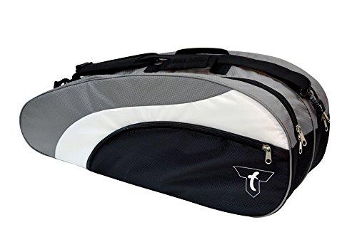 Talbot Torro passend für 6-12 Rackets Badmintontasche, schwarz/Silber/Weiß, 78 x 21 x 29 cm