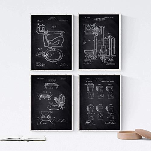Nacnic SCHWARZ Badezimmer Patent Poster 4er-Set. Vintage Stil Wanddeko Abbildung von Toiletten, Klopapier und Alte Erfindungen. Verschiedene geometrische Klempnerei Bilder ohne Rahmen. Größe A4.