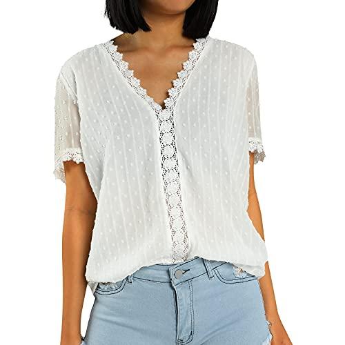 Geagodelia – Camiseta de verano para mujer, de encaje, elegante, cuello en V, oversize Casual Blusa Sexy Chic de moda, manga corta, color liso, estilo retro, transpirable blanco XXL