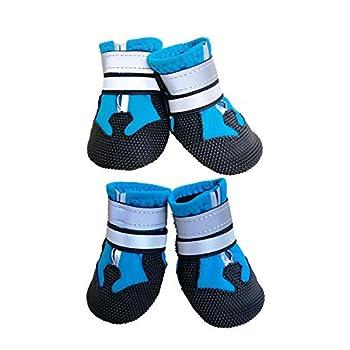 Ewolee Bottes Chien, Botte Protection Chien 4 Pièces Chien Chaussure Respirantes Chausson Antidérapant (S, Lac Bleu)