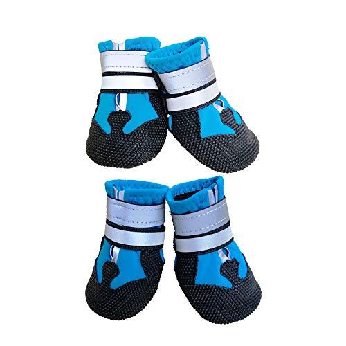 Ewolee wasserdichte Hundeschuhe, Breathable Hundeschuhe rutschfeste Schuhe Hundeschnee Stiefel, 4 Stück
