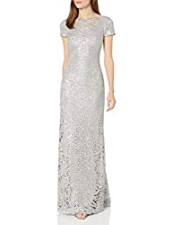 Pewter Short Sleeve Sequin Lace Gown