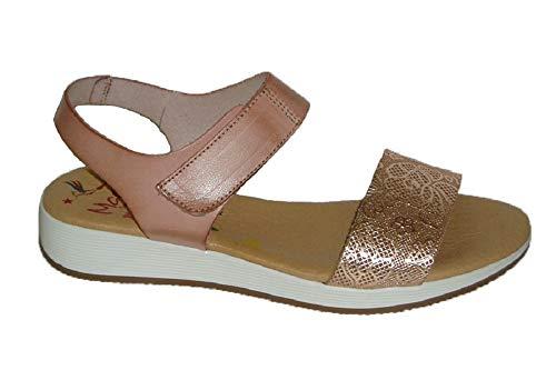 Marila 1218, Sandalia Nude Velcro 38, Rosa