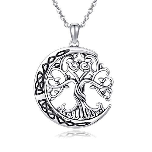 WINNICACA Tree of Life Necklace Celtic Knot Moon Pendant 925 Sterling Silver Jewelry Gifts for Birthday for Women or Men
