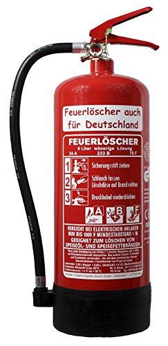 NEU 6 l Fettbrand Schaum Feuerlöscher 34 A, 233 B, 75 F = 10 LE DIN EN3 GS + Wandhalter + Manometer + Standfuß, Fettbrandlöscher ABF