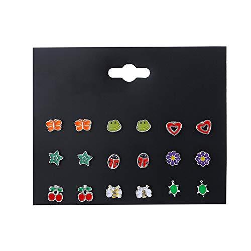 QXZ-WOLFBERRY 12 Pares de aretes de combinación de Frutas de Animales en Forma de corazón establecen Pendientes para niños (Color : E0103-1)