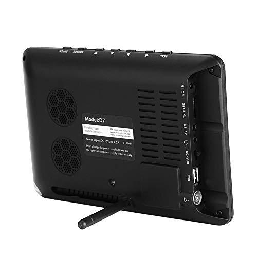 PUSOKEI Mini televisión analógica Digital, TV portátil de 7 Pulgadas DVB-T-T2 con resolución de 800x480, TV LED TFT en Color, Soporte USB, Tarjeta de Memoria, batería incorporada de 1200 mah