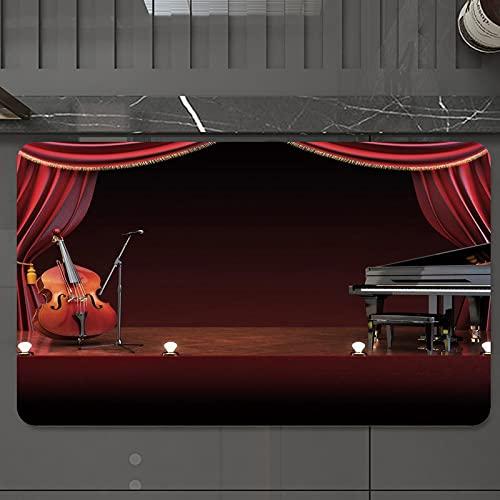 Alfombrilla de Baño Antideslizantes de 50X80 cm,Teatro Musical, Orquesta Sinfónica Tema Cort, Tapete para el Piso Lavable a Máquina con Microfibras Suaves Absorbentes de Agua para Bañera, Duch
