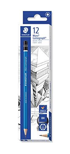 Staedtler Mars Lumograph 8H Graphite Art Drawing Pencil, Hard, Break-Resistant Bonded Lead, 12 Pack, 100-8H