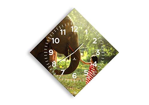 Wanduhr - Rhombus - Glasuhr - Breite: 71cm, Höhe: 71cm - Bildnummer 3884 - Schleichendes Uhrwerk - lautlos - zum Aufhängen bereit - Kunstdruck - C4AD50x50-3884