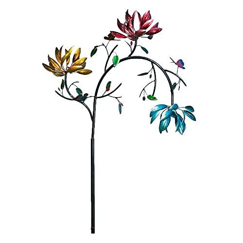 Spinner grande del viento del metal con tres flores del hilandero y mariposas del molino de viento caliente