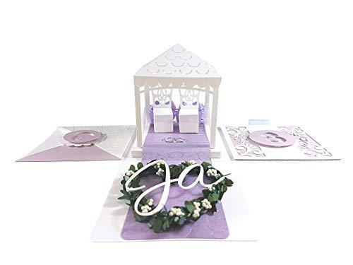 Geldgeschenk zur Hochzeit: Geschenkbox/Explosionsbox'Aiyana' lila als Hochzeitsgeschenk - Originelle und persönliche Geschenkidee – Hochzeitskarte für Glückwünsche an das Brautpaar