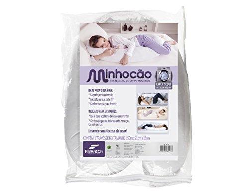 Travesseiro Minhocão, Com Capa 100% Malha De Algodão Com Zíper, 25X160cm, Branco, Fibrasca