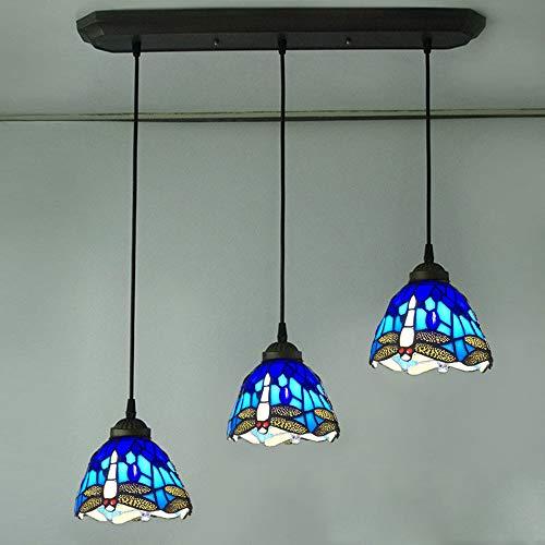 ALJKK Tiffany Art Dragonfly Lámpara Araña 3 Luces Lámpara De Techo Vintage Con Vitrales, Lámpara Colgante Retro Para Sala De Estar Dormitorio Bar De Hotel, Portalámparas E27, Altura Ajustable,Azul
