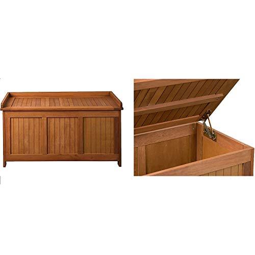 STILISTA® Gartenbox aus FSC zertifiziertem Shorea-Hartholz, Liftautomatik, inkl. Kissen, 113cm - 5