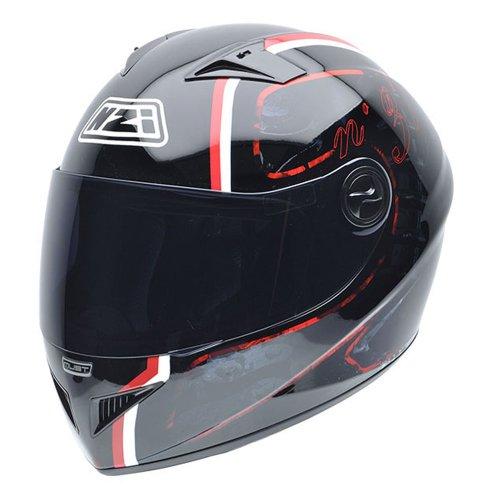 NZI Motorradhelm, Schwarz/Weiß/Rot, L