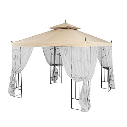 Garden Winds Replacement Canopy Top Cover for Hampton Bay Arrow Gazebo - Riplock 350 - Beige