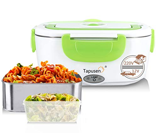 Tapusen Lunch Box Elettrico 2 in 1 per Auto e Lavoro Tarter Elettrico 220V e 12V scaldavivande Elettrico in Acciaio Inox 1.5L con Due comparti e Cucchiaio (Verde)