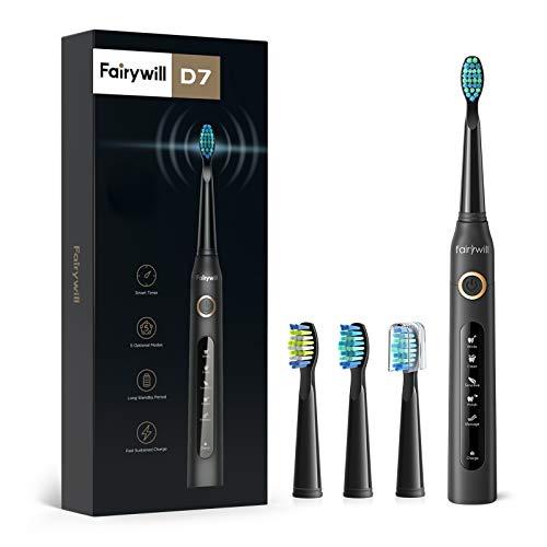 Brosse à dent électrique Fairywill Brosse à dent sonique 4 heures de charge, 30 jours d'utilisation minimum, 5 Modes en option et 3 brossettes de rechange pour adultes FW-507