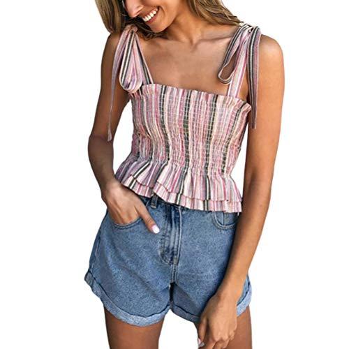 Laisla fashion Camisole damski bezrękawnik w paski, klasyczny top, na lato, dla dziewcząt, plisowana falbanka, przewiewna, Slim Fit, Sling Bandeau Tanktop chłopięcy