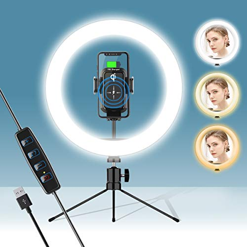 """10"""" Selfie Ring Light with Wireless Phone Charge & Tripod Stand for Live Stream/Makeup/YouTube Video Compatible with iPhone 11/11 Pro/11 Pro Max/Xs MAX/XS/XR/X/8/8+,Samsung S10/S10+/S9/S9+/S8/S8+"""