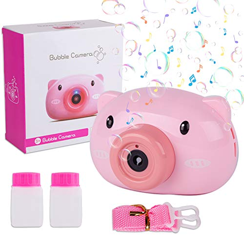 Liberry Bubble Machine, Pig Shaped Portable Bubble Blower for Kids Aged 3+, Battery Bubble Maker Machine (Include 2 Bubble Solutions and 1 Strap)