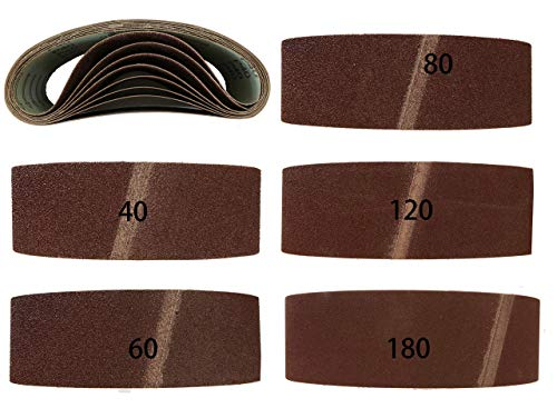 Lot de 10 bandes abrasives en tissu - 75 x 457 mm - Grain : 2 x 40 60 80 120 180 - Pour ponceuse à bande