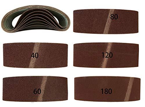 Bandas de lija (10 unidades, 75 x 457 mm, grano 2 de 40/60/80/120/180, para lijadora de banda)