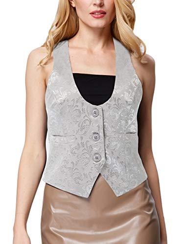 GRACE KARIN Women's Dressy Casual Versatile Racerback Vest 3 Button Tuxedo Suit Waistcoat(M,Light Gray)