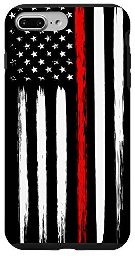 iPhone 7 Plus/8 Plus Firefighter Phone Case Thin Red Line American Flag Fireman Case