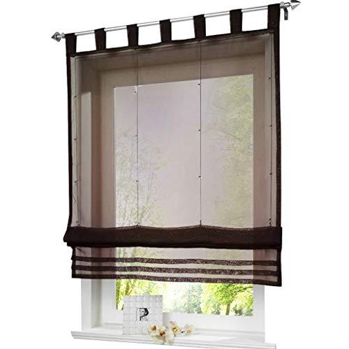 ESLIR Raffrollo mit Schlaufen Raffgardinen Gardinen Küche Transparent Schlaufenrollo Vorhänge Modern Voile Kaffee BxH 140x155cm 1 Stück