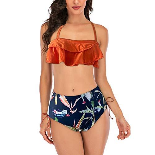 YANFANG Bañador para Mujer, La Correa de Hombro Delgada de Las Mujeres del Verano imprimió el Traje de baño Atractivo y los Pantalones Cortos del Estilo de la Playa