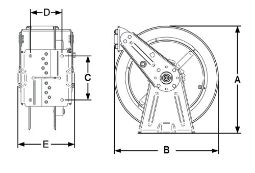 300 Psi Air//Water Hose Included 1//4 x 50/' Reelcraft DP7450 OLP Heavy Duty Compact Dual Pedestal Hose Reel 1//4 x 50