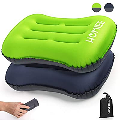 HOMIEE Ultralight Inflatable Travel Camping Pillow (2 Pack) Ergonomic, Compressible, Compact Blow Up Pillow for Neck & Lumbar Support While Camping, Backpacking Hiking, Outdoor Sleeping