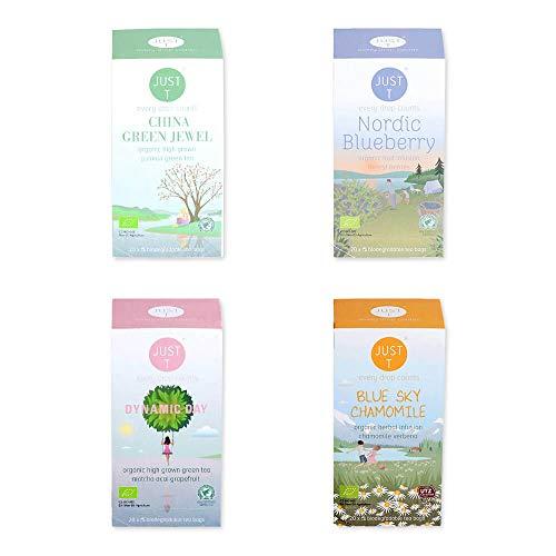 Just T Bio Tee Set Wellness All Day mit Organischem Tee Auswahl für Perfekte Balance in Deinem Leben (Teebeutel 4 x 20)