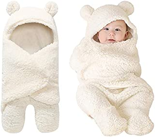 Nowborn Baby Wrap Swaddle Blanket Adjustable Infant Cute Cotton Sleeping Bag Boy Girl (M, White)