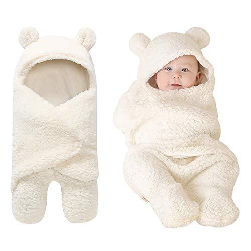 ベビーおくるみ ベビー寝袋 あったかい 無地 綿 足付き クマさん ふわふわ ホワイト 3~12ヶ月(M)
