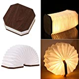 Wooden Book Light,Novelty Folding Organ Light,Portable Paper Mood Light with USB Rechargeable Night Light,Wooden Table Lamp Magnetic Design- Creative Gift Home & Office Decor (Black Walnut)