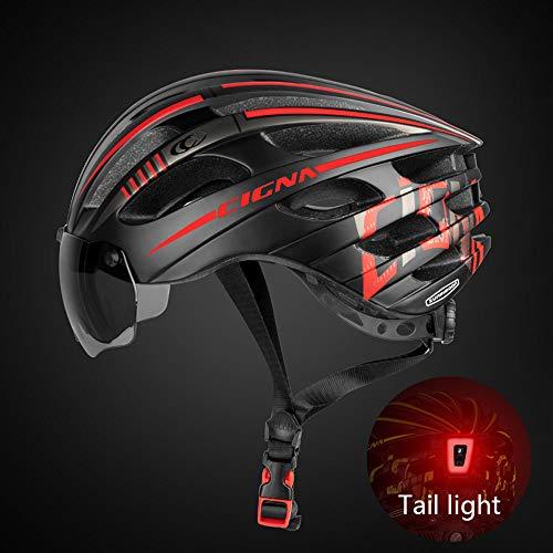Fahrradhelm mit Schild Visier,Fahrrad Zyklus Helm Visier-Schutzbrille LED-Rücklicht Unisex Geschützter für Fahrradfahren Racing Skateboarding Outdoors Sports Safety Superleichter Verstellbarer