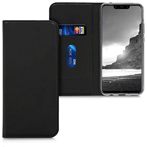 kwmobile Flip Case Compatible with Huawei Nova 3 - Smooth PU Leather Wallet Folio Cover with Stand - Black